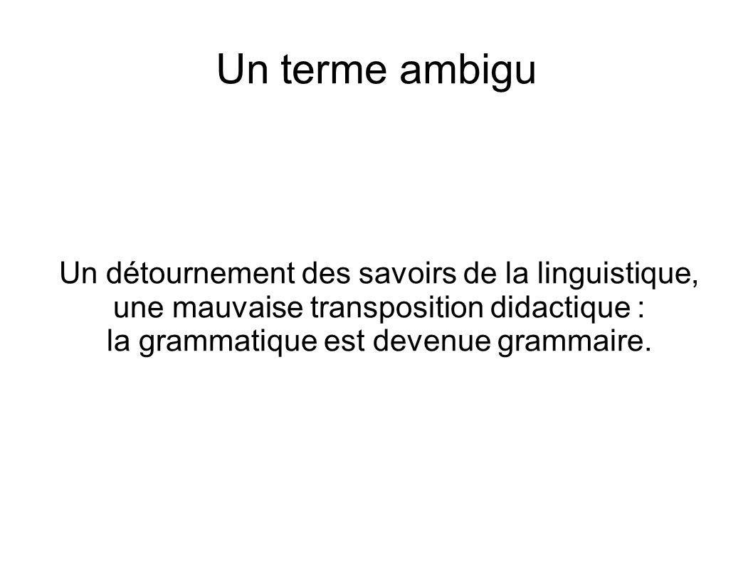 Un terme ambigu Un détournement des savoirs de la linguistique, une mauvaise transposition didactique : la grammatique est devenue grammaire.