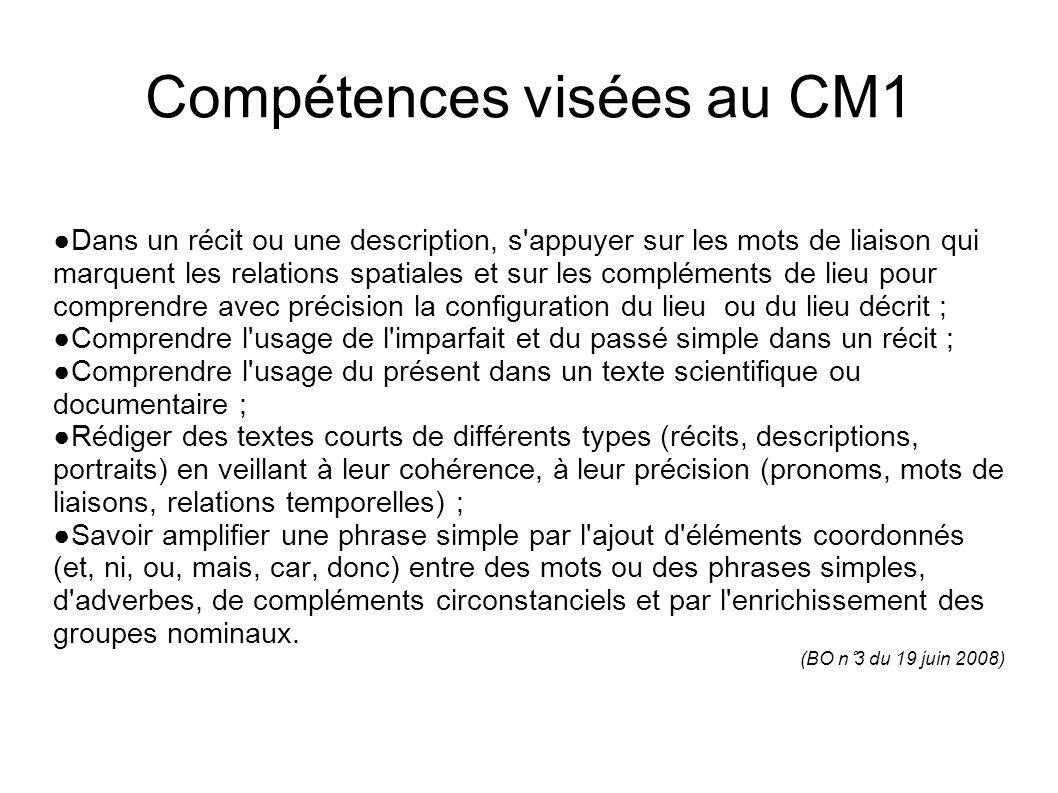Compétences visées au CM1 Dans un récit ou une description, s'appuyer sur les mots de liaison qui marquent les relations spatiales et sur les compléme