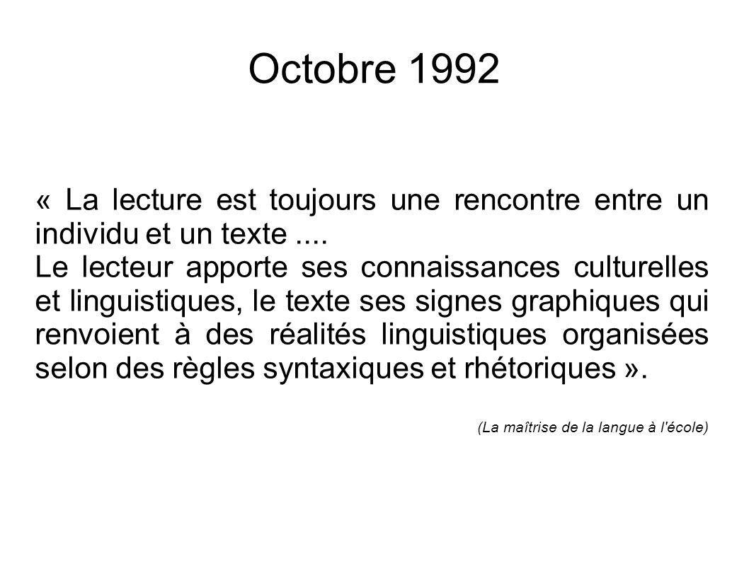 Octobre 1992 « La signification d un texte est construite, au fur et à mesure de la lecture, en fonction des connaissances du lecteur et de ses capacités à traiter les marques linguistiques.