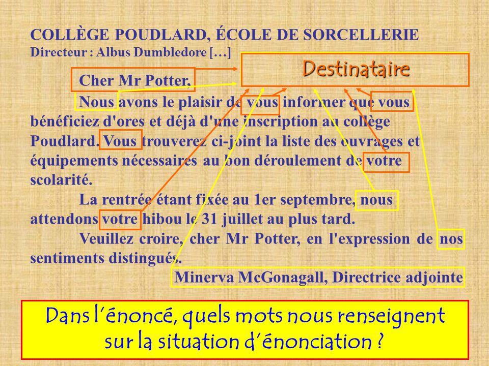 COLLÈGE POUDLARD, ÉCOLE DE SORCELLERIE Directeur : Albus Dumbledore […] Cher Mr Potter, Nous avons le plaisir de vous informer que vous bénéficiez d'o