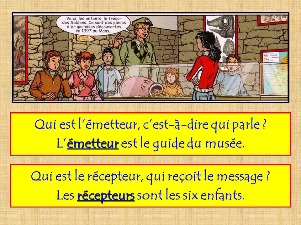 Sur cette vignette de bande dessinée, le message message paroles (paroles de la bulle) est émis par émetteur lémetteur guide (guide) et reçu par les récepteurs six (six enfants enfants) dans un certain lieu lieu musée (musée), en un certain temps temps notre (notre époque époque).