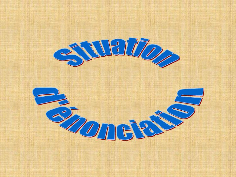 ENONCIATION langue destinateurdestinataire énoncé tempslieu LENONCIATION est la communication qui seffectue grâce au code de la langue : le destinateur communique avec le destinataire dans un texte appelé énoncé, situé dans le temps et le lieu.