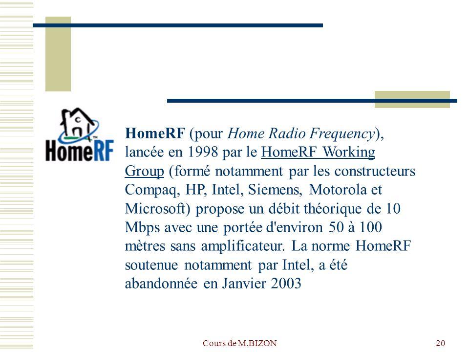 Cours de M.BIZON20 HomeRF (pour Home Radio Frequency), lancée en 1998 par le HomeRF Working Group (formé notamment par les constructeurs Compaq, HP, Intel, Siemens, Motorola et Microsoft) propose un débit théorique de 10 Mbps avec une portée d environ 50 à 100 mètres sans amplificateur.