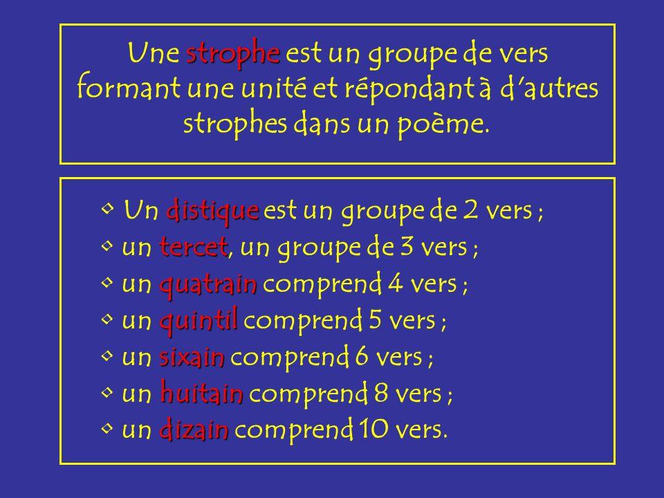 strophe Une strophe est un groupe de vers formant une unité et répondant à d'autres strophes dans un poème. distique Un distique est un groupe de 2 ve