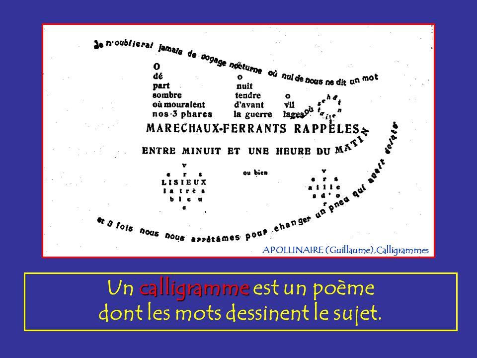calligramme Un calligramme est un poème dont les mots dessinent le sujet. APOLLINAIRE (Guillaume),Calligrammes