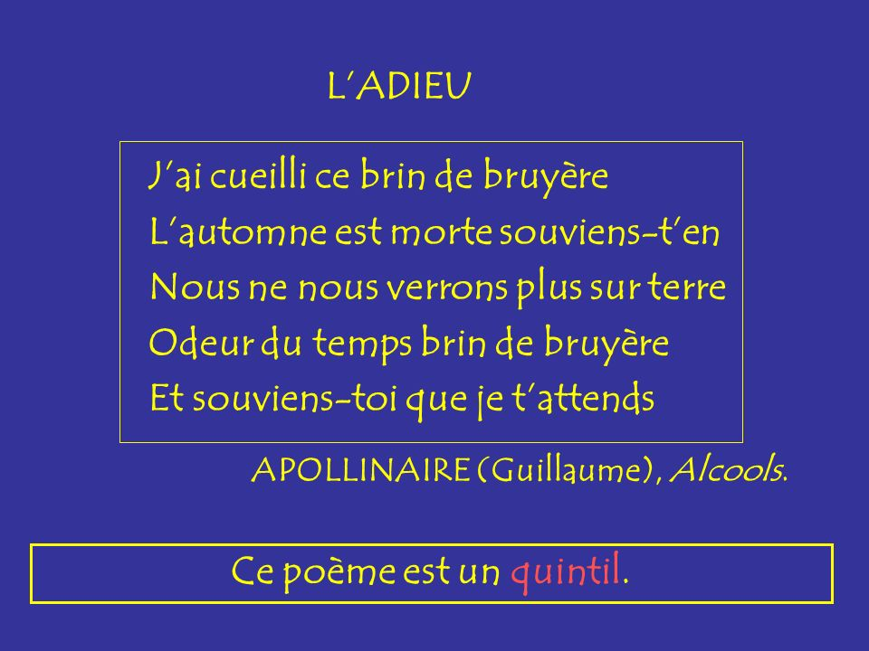 ballade Une ballade est un poème de 3 huitains d octosyllabes ou de 3 dizains de décasyllabes et dun envoi.