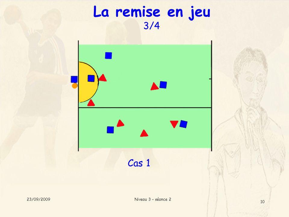 Niveau 3 – séance 2 10 La remise en jeu 3/4 Cas 1 23/09/2009