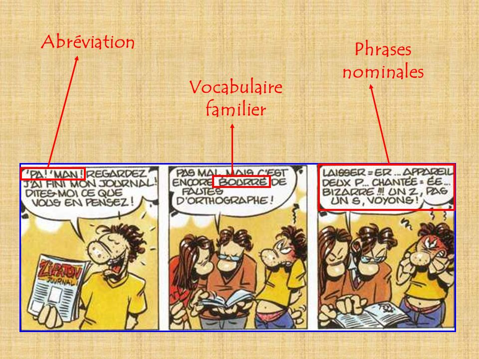 Abréviation Vocabulaire familier Phrases nominales