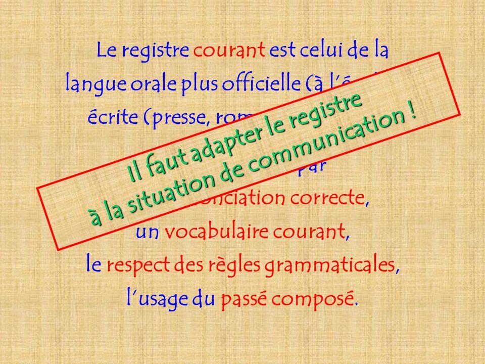 Le registre courant est celui de la langue orale plus officielle (à lécole) et écrite (presse, roman de jeunesse). Il se caractérise par une prononcia