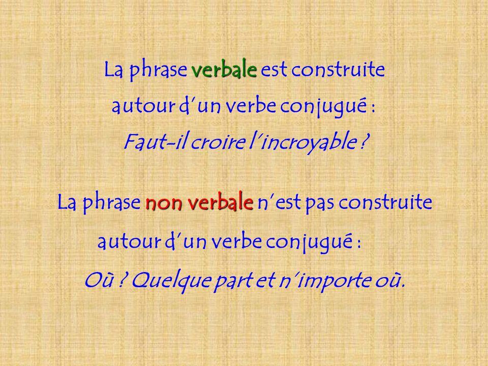 La phrase verbale verbale est construite autour dun verbe conjugué : Faut-il croire lincroyable ? La phrase non verbale verbale nest pas construite au