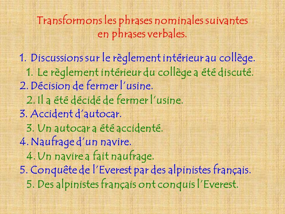 Transformons les phrases nominales suivantes en phrases verbales. 1.Discussions sur le règlement intérieur au collège. 2.Décision de fermer lusine. 3.