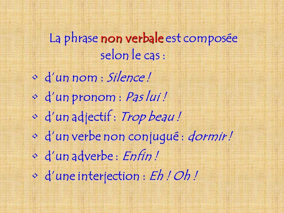 La phrase non verbale verbale est composée selon le cas : dun nom : Silence ! dun pronom : Pas lui ! dun adjectif : Trop beau ! dun verbe non conjugué