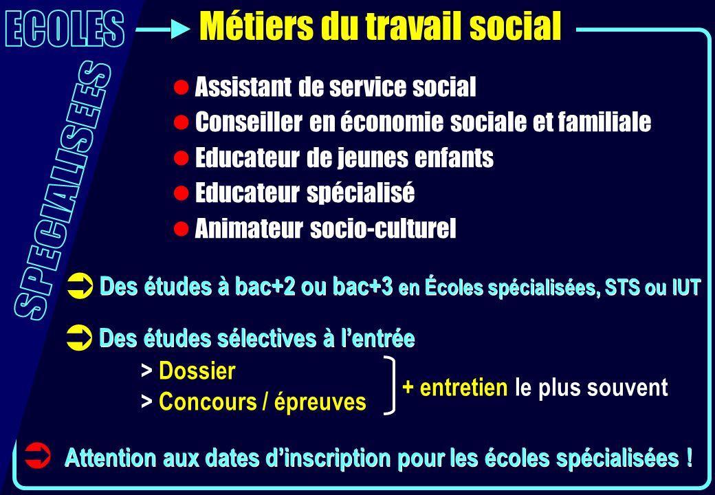 Métiers du travail social Assistant de service social Conseiller en économie sociale et familiale Educateur de jeunes enfants Educateur spécialisé Ani
