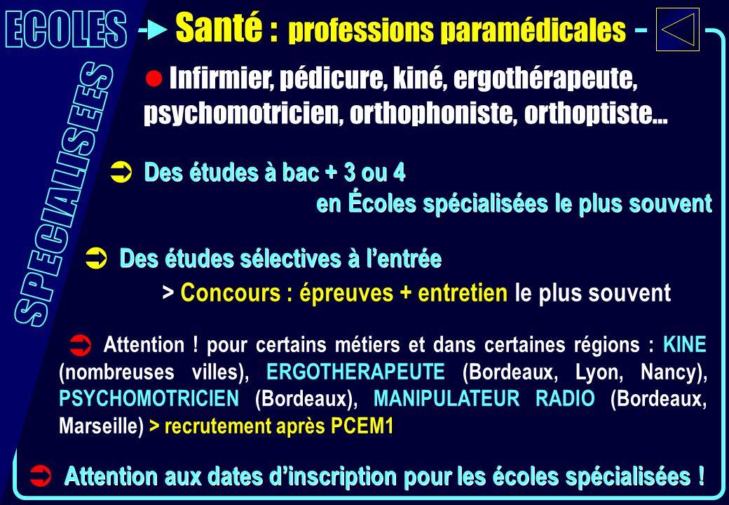 Santé : professions paramédicales Des études à bac + 3 ou 4 en Écoles spécialisées le plus souvent Des études à bac + 3 ou 4 en Écoles spécialisées le