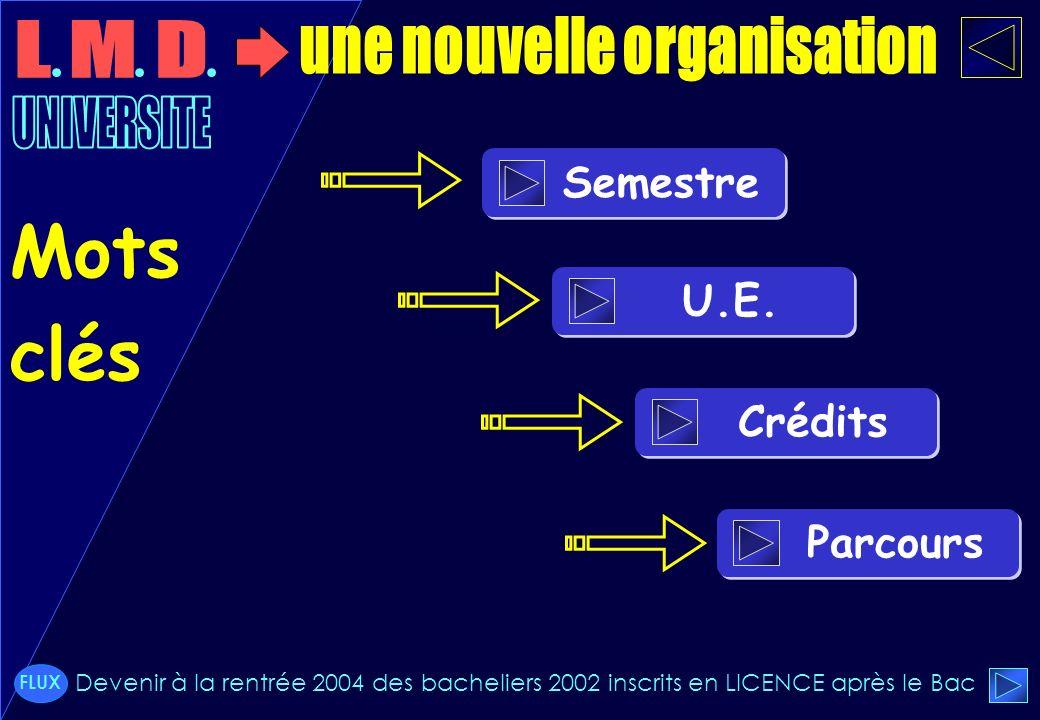 Semestre U.E. Crédits Parcours Mots clés Devenir à la rentrée 2004 des bacheliers 2002 inscrits en LICENCE après le Bac FLUX