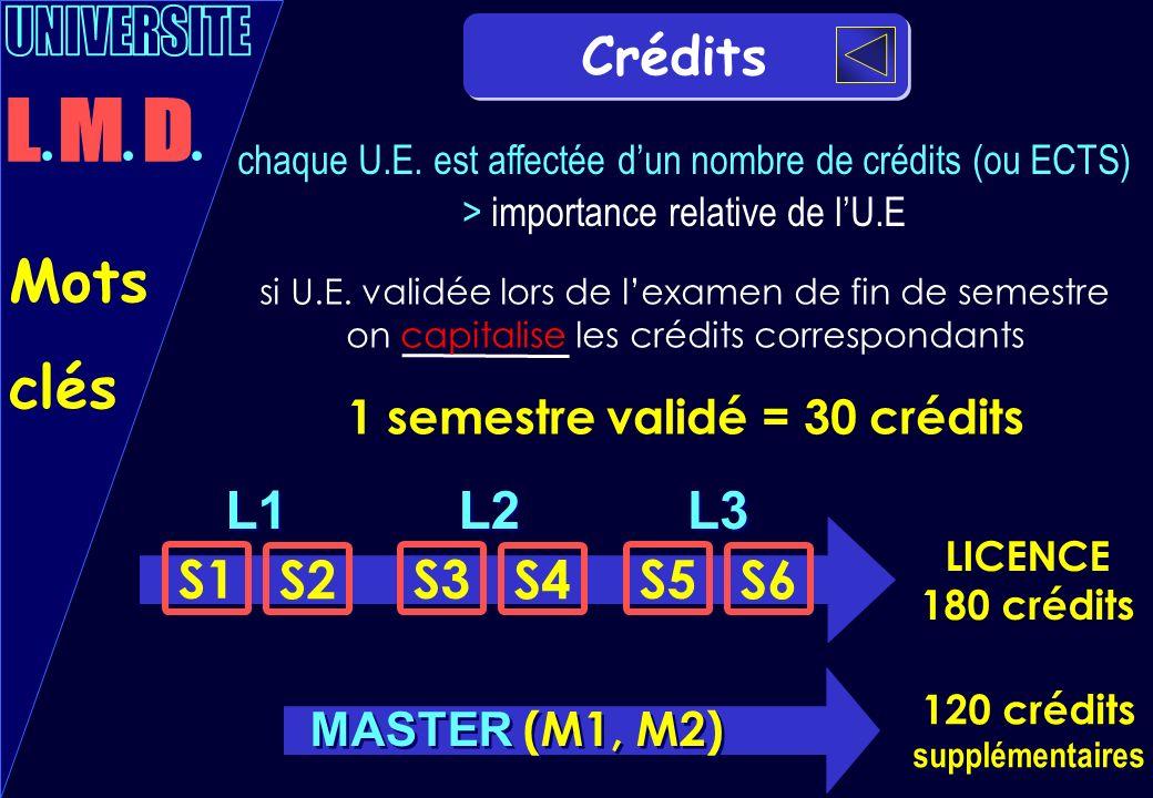 Crédits L1 S1 S2 L2 S3 S4 L3 S5 S6 chaque U.E. est affectée dun nombre de crédits (ou ECTS) > importance relative de lU.E 1 semestre validé = 30 crédi