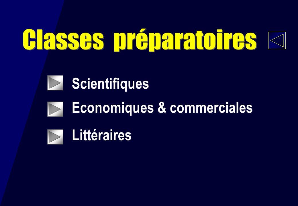 Scientifiques Economiques & commerciales Littéraires Classes préparatoires