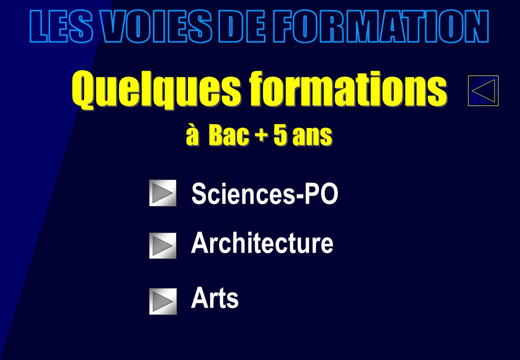Quelques formations à Bac + 5 ans Quelques formations à Bac + 5 ans Sciences-PO Architecture Arts