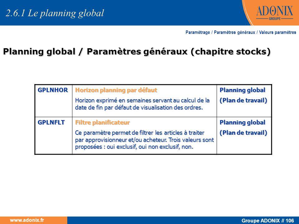 Groupe ADONIX // 106 www.adonix.fr Planning global / Paramètres généraux (chapitre stocks) Paramétrage / Paramètres généraux / Valeurs paramètres 2.6.