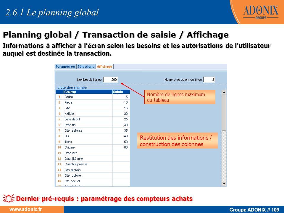 Groupe ADONIX // 109 www.adonix.fr Informations à afficher à lécran selon les besoins et les autorisations de lutilisateur auquel est destinée la tran