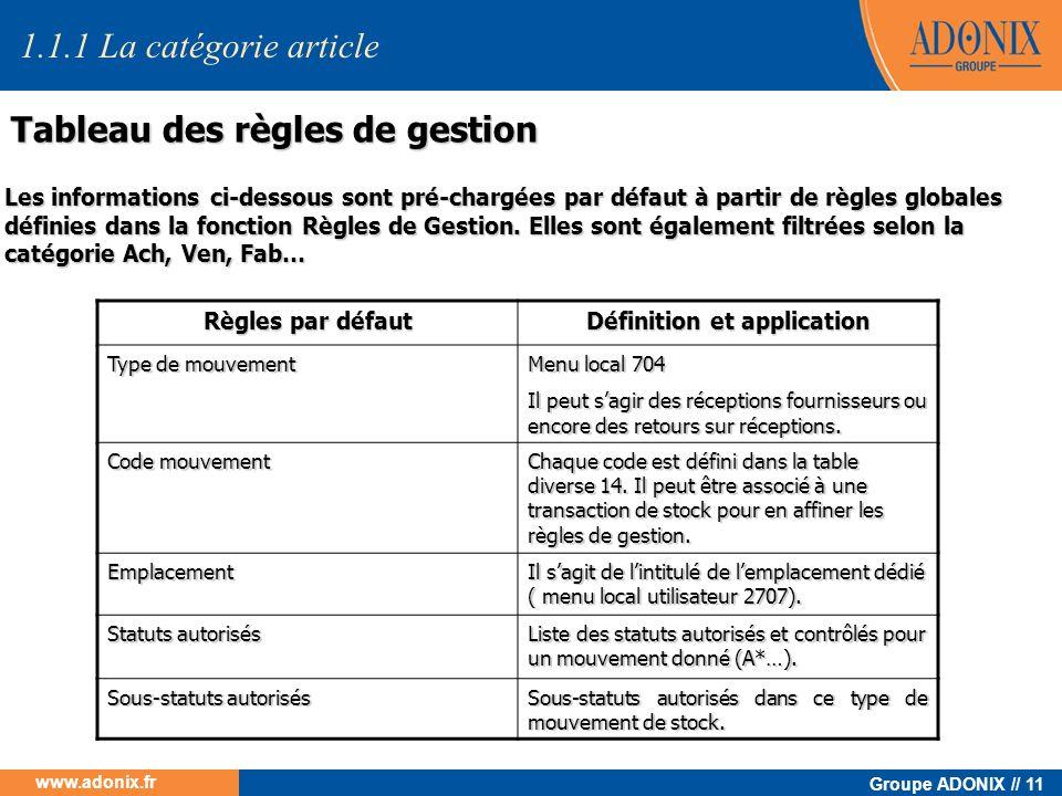 Groupe ADONIX // 11 www.adonix.fr Tableau des règles de gestion Règles par défaut Définition et application Type de mouvement Menu local 704 Il peut s