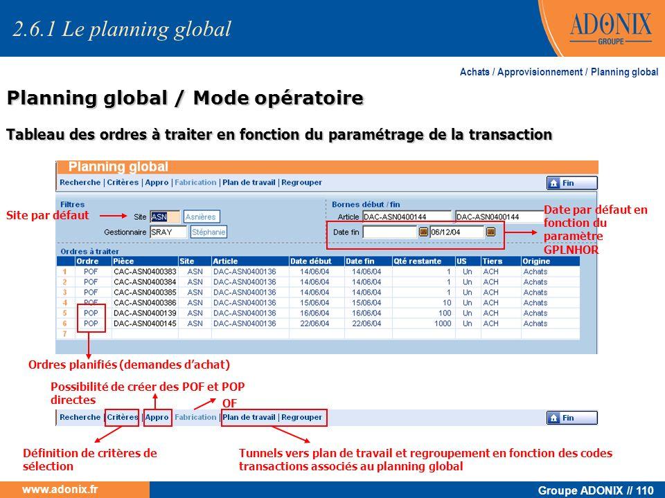 Groupe ADONIX // 110 www.adonix.fr Planning global / Mode opératoire Achats / Approvisionnement / Planning global Tableau des ordres à traiter en fonc