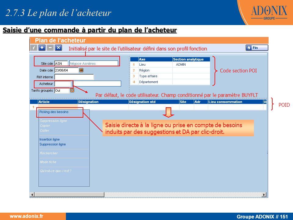 Groupe ADONIX // 151 www.adonix.fr Par défaut, le code utilisateur. Champ conditionné par le paramètre BUYFLT Saisie directe à la ligne ou prise en co