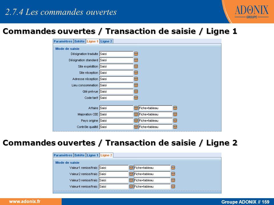 Groupe ADONIX // 159 www.adonix.fr 2.7.4 Les commandes ouvertes Commandes ouvertes / Transaction de saisie / Ligne 1 Commandes ouvertes / Transaction