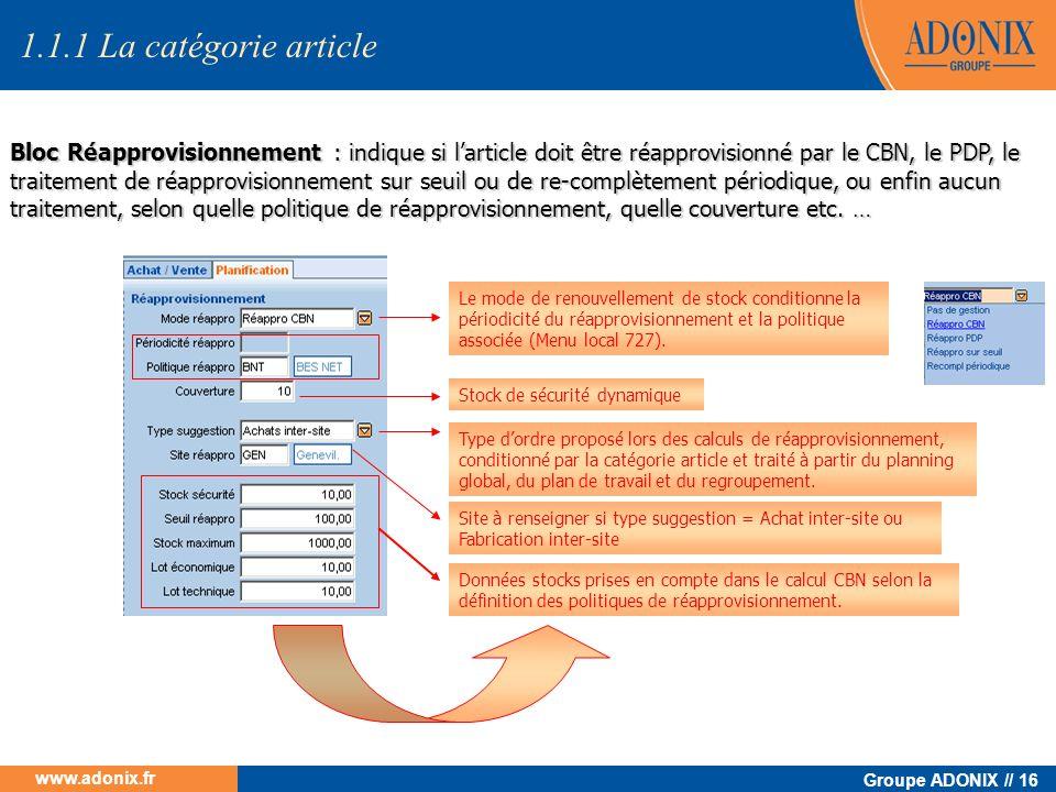 Groupe ADONIX // 16 www.adonix.fr Bloc Réapprovisionnement : indique si larticle doit être réapprovisionné par le CBN, le PDP, le traitement de réappr