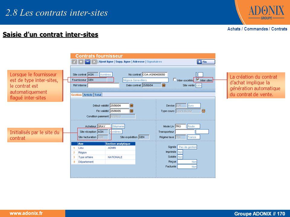 Groupe ADONIX // 170 www.adonix.fr Saisie dun contrat inter-sites Achats / Commandes / Contrats Lorsque le fournisseur est de type inter-sites, le con