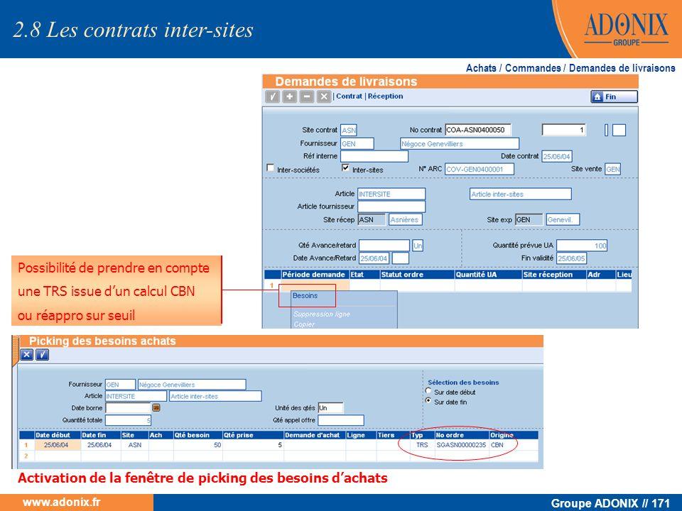 Groupe ADONIX // 171 www.adonix.fr Possibilité de prendre en compte une TRS issue dun calcul CBN ou réappro sur seuil Achats / Commandes / Demandes de