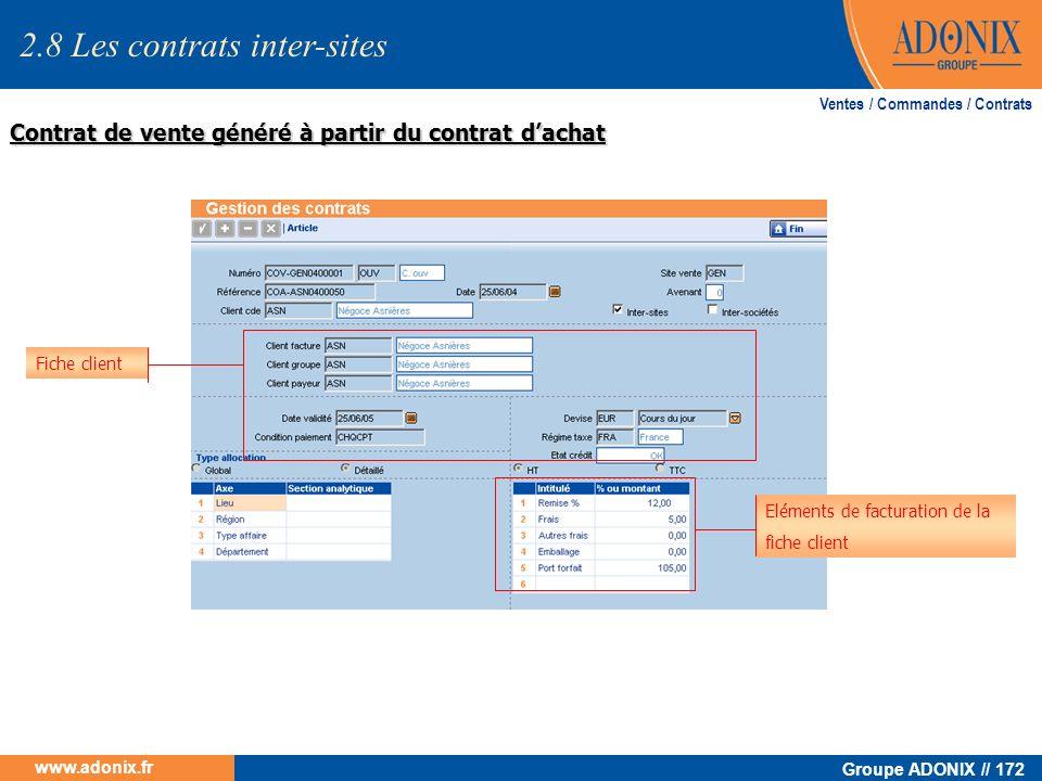 Groupe ADONIX // 172 www.adonix.fr Contrat de vente généré à partir du contrat dachat Ventes / Commandes / Contrats Fiche client Eléments de facturati