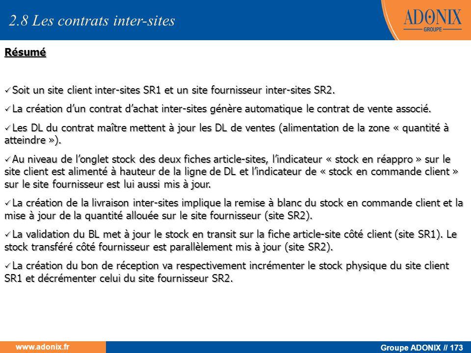 Groupe ADONIX // 173 www.adonix.fr Résumé Soit un site client inter-sites SR1 et un site fournisseur inter-sites SR2. Soit un site client inter-sites