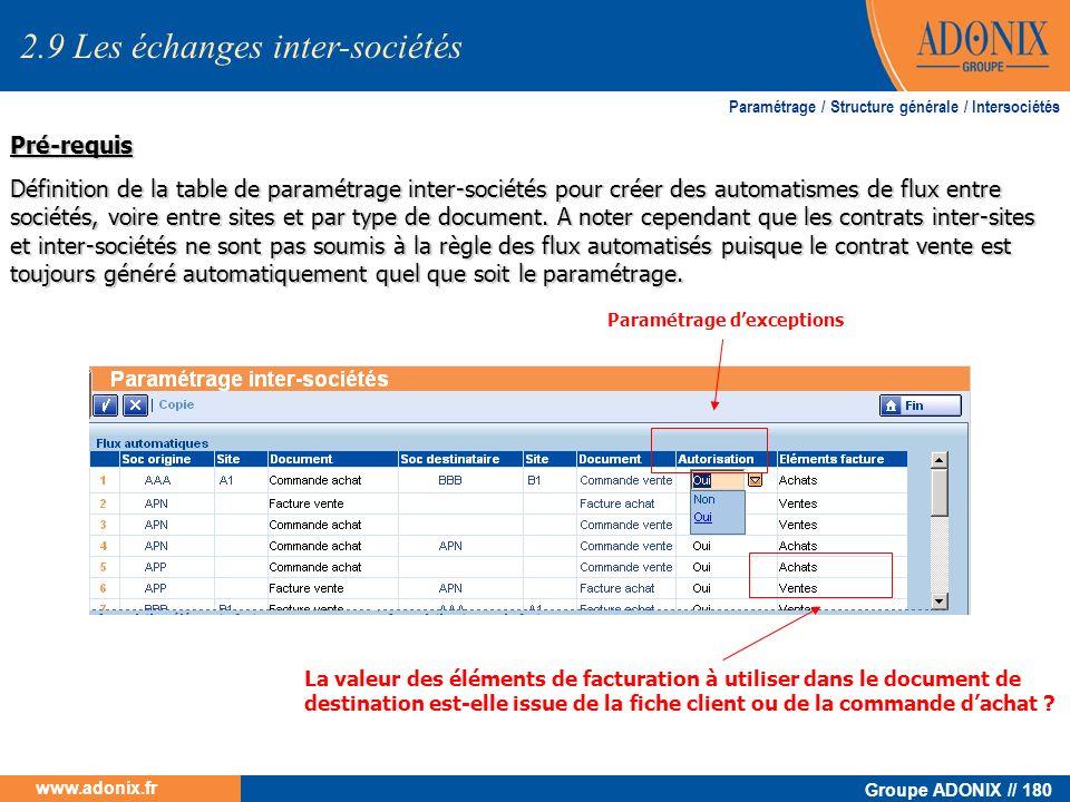 Groupe ADONIX // 180 www.adonix.fr Pré-requis Définition de la table de paramétrage inter-sociétés pour créer des automatismes de flux entre sociétés,