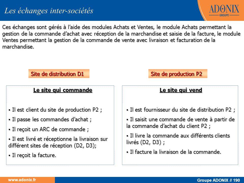 Groupe ADONIX // 190 www.adonix.fr Le site qui commande Il est client du site de production P2 ; Il est client du site de production P2 ; Il passe les