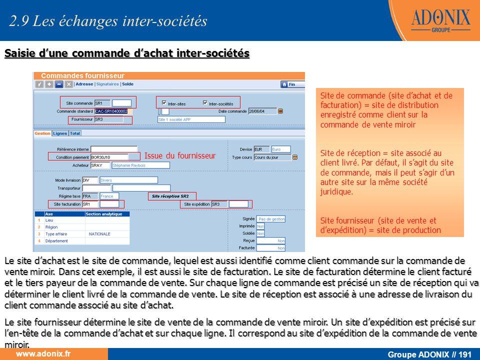Groupe ADONIX // 191 www.adonix.fr Saisie dune commande dachat inter-sociétés Le site dachat est le site de commande, lequel est aussi identifié comme