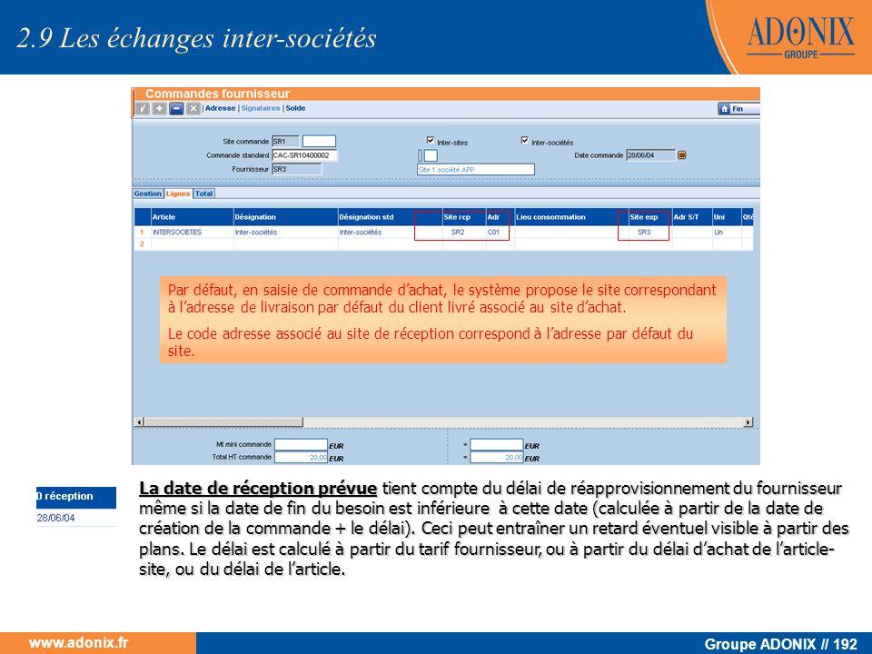 Groupe ADONIX // 192 www.adonix.fr Par défaut, en saisie de commande dachat, le système propose le site correspondant à ladresse de livraison par défa