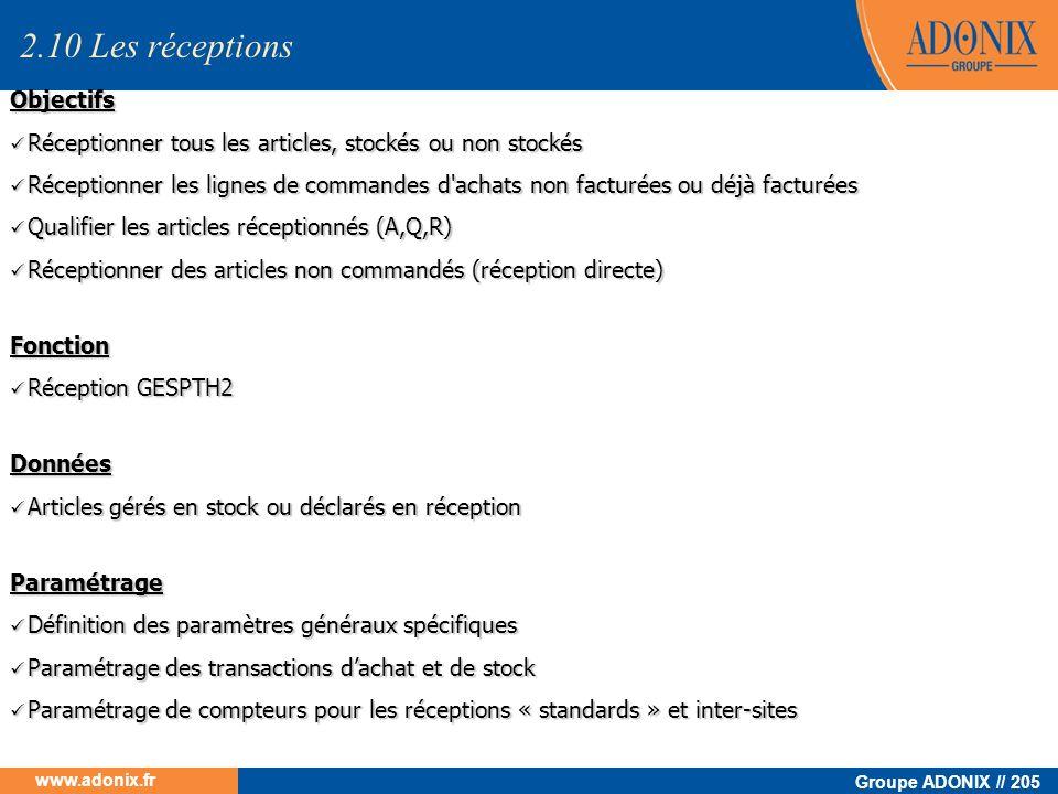 Groupe ADONIX // 205 www.adonix.fr Objectifs Réceptionner tous les articles, stockés ou non stockés Réceptionner tous les articles, stockés ou non sto