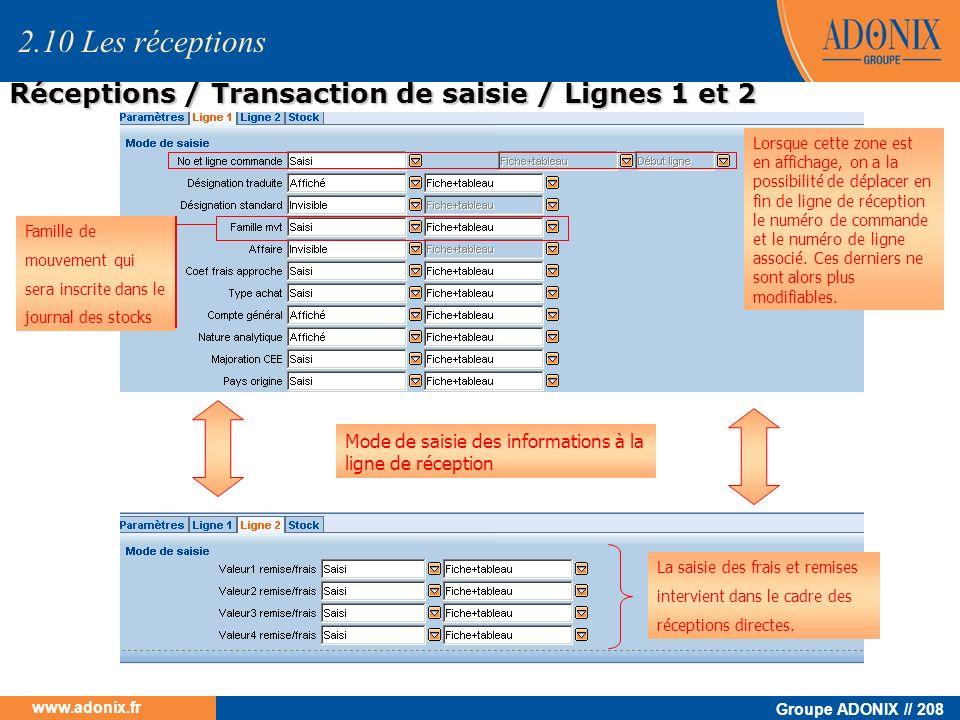 Groupe ADONIX // 208 www.adonix.fr Mode de saisie des informations à la ligne de réception Lorsque cette zone est en affichage, on a la possibilité de