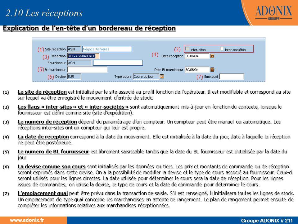 Groupe ADONIX // 211 www.adonix.fr Explication de len-tête dun bordereau de réception (1) Le site de réception est initialisé par le site associé au p