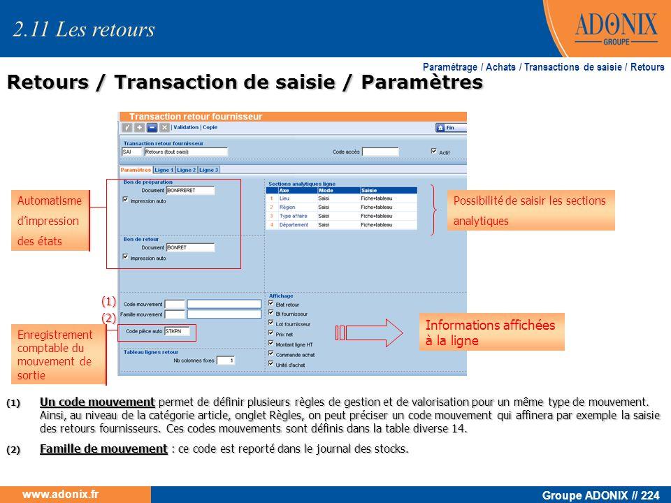 Groupe ADONIX // 224 www.adonix.fr Retours / Transaction de saisie / Paramètres Paramétrage / Achats / Transactions de saisie / Retours (1) Un code mo