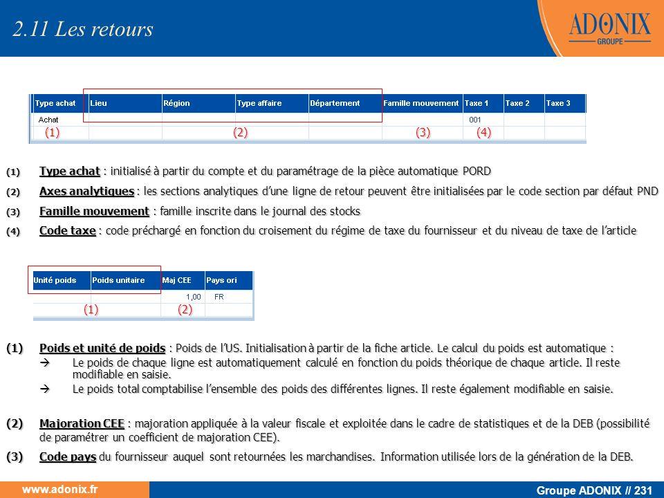 Groupe ADONIX // 231 www.adonix.fr (1) Type achat : initialisé à partir du compte et du paramétrage de la pièce automatique PORD (2) Axes analytiques