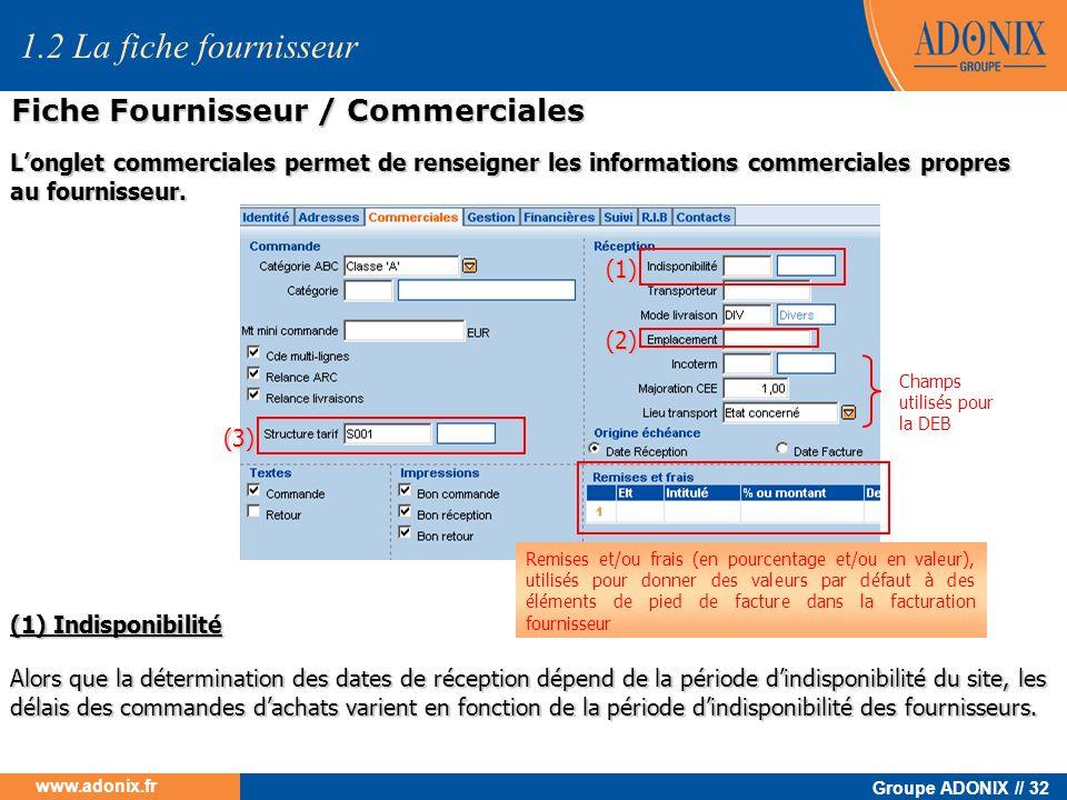 Groupe ADONIX // 32 www.adonix.fr (1) (1) Indisponibilité (2) (3) 1.2 La fiche fournisseur Fiche Fournisseur / Commerciales Longlet commerciales perme
