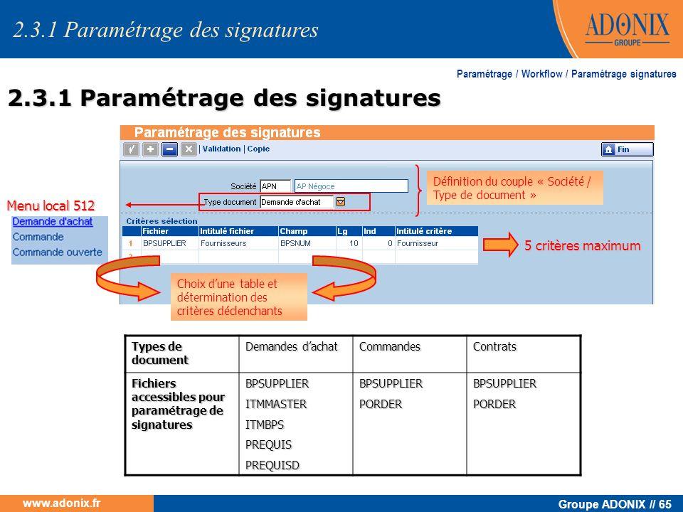 Groupe ADONIX // 65 www.adonix.fr Paramétrage / Workflow / Paramétrage signatures Menu local 512 Choix dune table et détermination des critères déclen