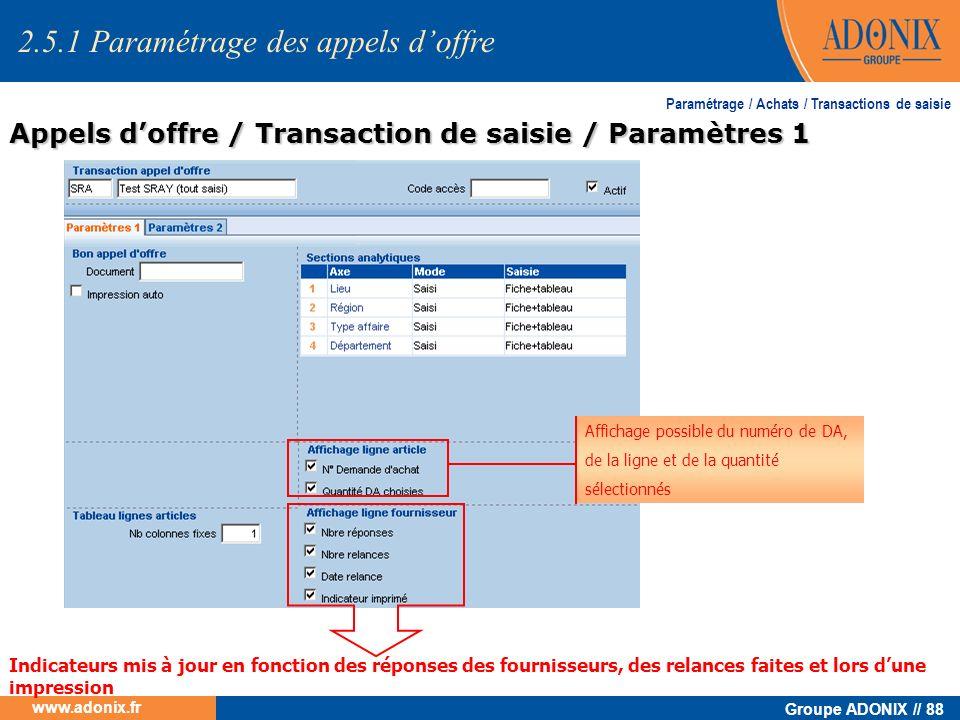 Groupe ADONIX // 88 www.adonix.fr Paramétrage / Achats / Transactions de saisie Appels doffre / Transaction de saisie / Paramètres 1 Affichage possibl