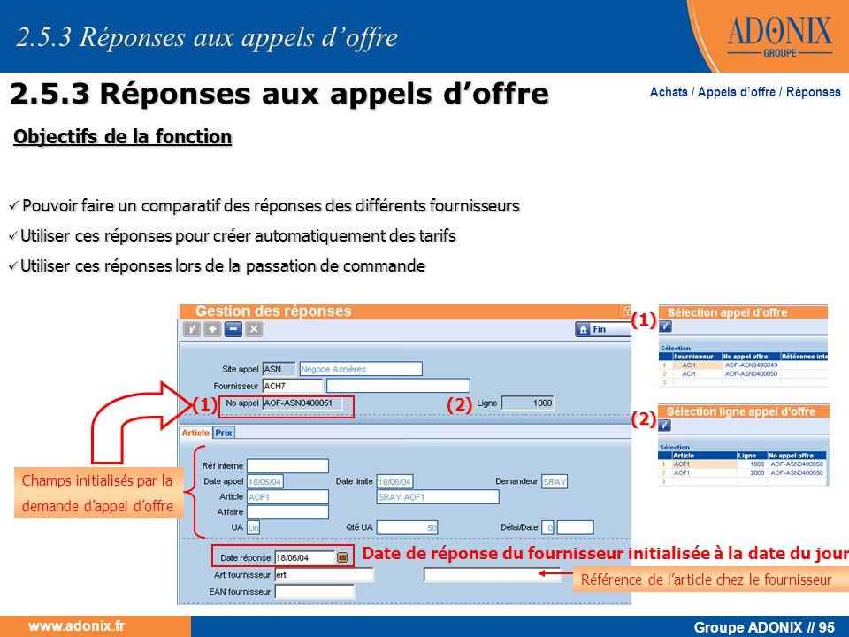 Groupe ADONIX // 95 www.adonix.fr Achats / Appels doffre / Réponses Objectifs de la fonction Objectifs de la fonction Pouvoir faire un comparatif des