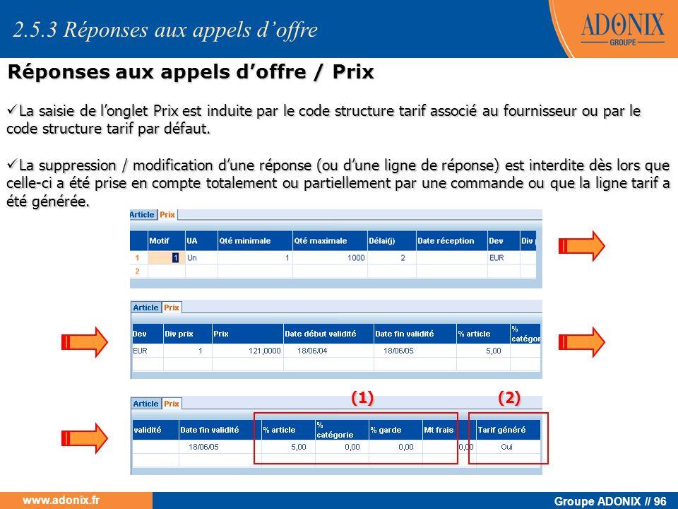 Groupe ADONIX // 96 www.adonix.fr La saisie de longlet Prix est induite par le code structure tarif associé au fournisseur ou par le code structure ta