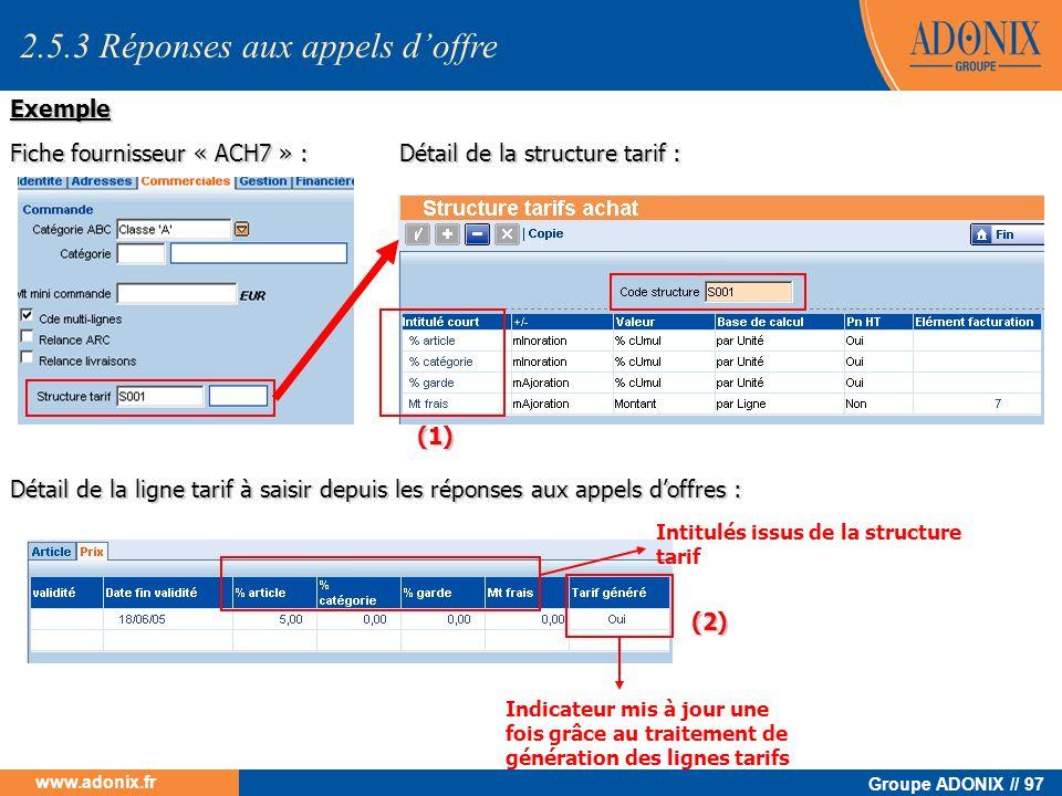 Groupe ADONIX // 97 www.adonix.fr Fiche fournisseur « ACH7 » : Détail de la structure tarif : (1) Détail de la ligne tarif à saisir depuis les réponse