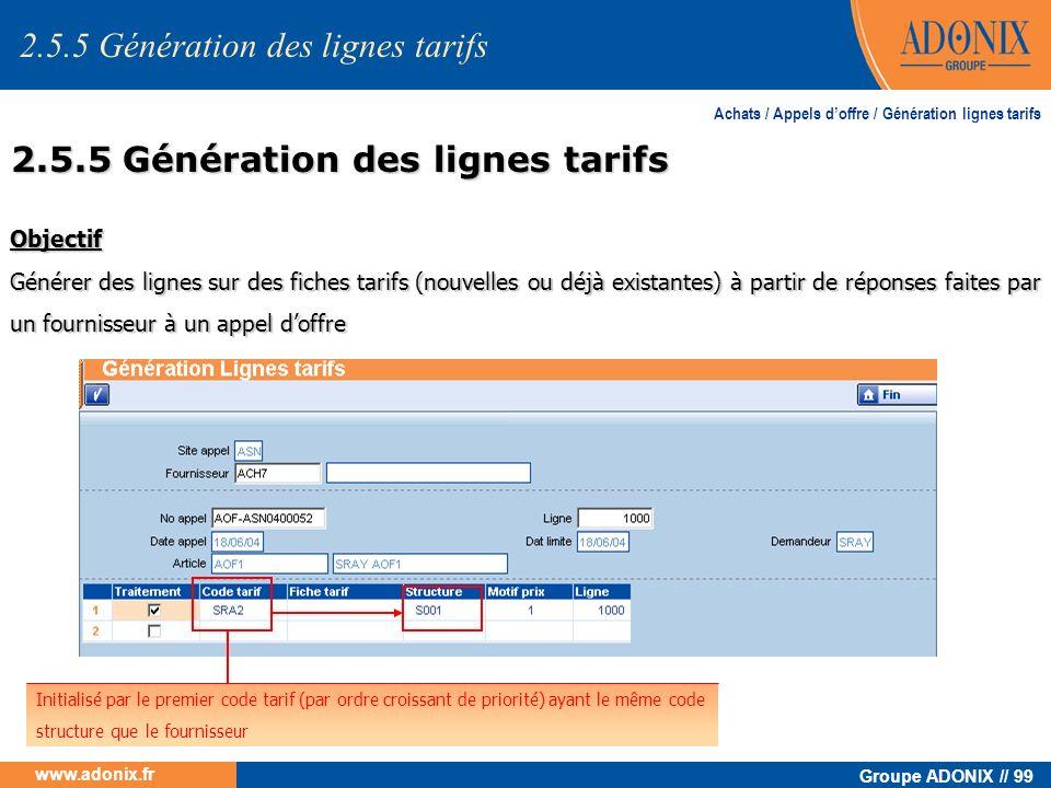 Groupe ADONIX // 99 www.adonix.fr Objectif Générer des lignes sur des fiches tarifs (nouvelles ou déjà existantes) à partir de réponses faites par un