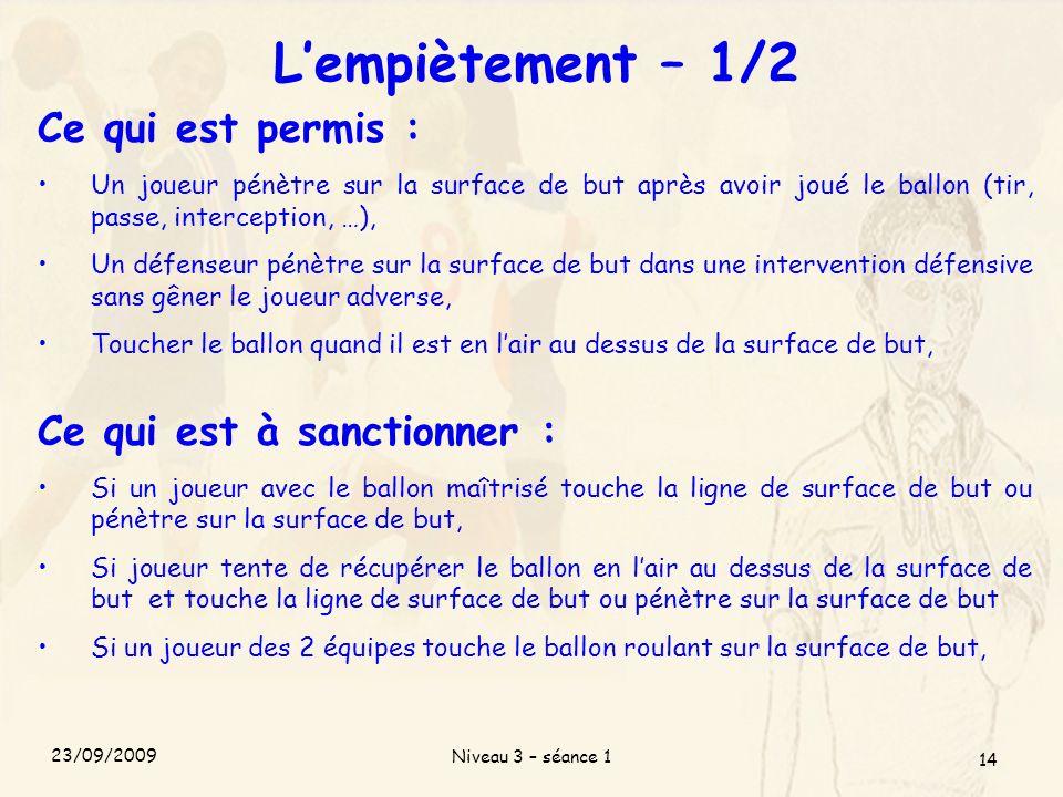 Niveau 3 – séance 1 14 Lempiètement – 1/2 Ce qui est permis : Un joueur pénètre sur la surface de but après avoir joué le ballon (tir, passe, intercep
